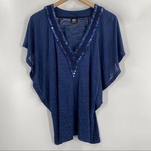 Bobeau- Blue Sequin Flutter Sleeve Blouse Shirt
